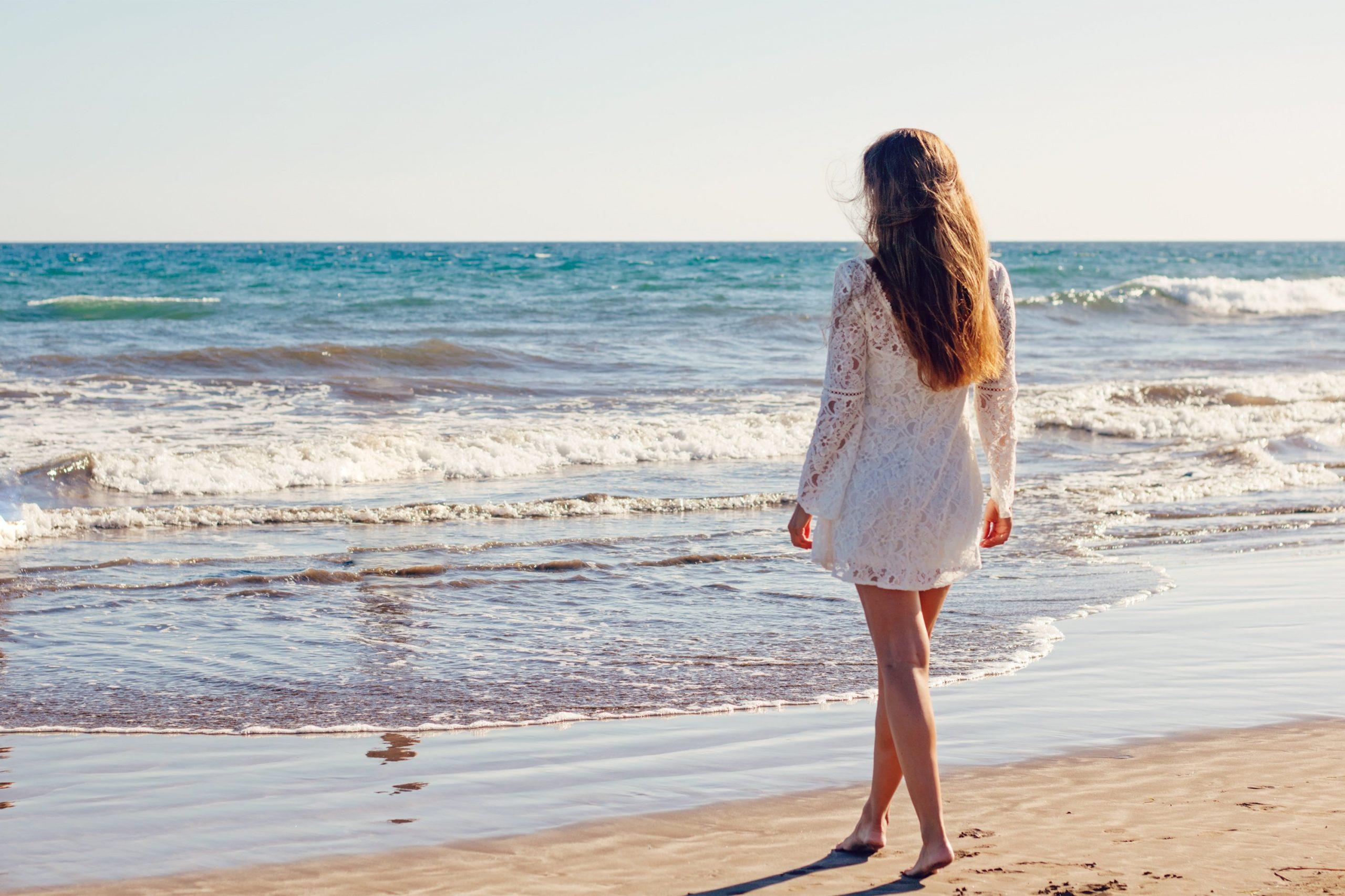 young woman, beach, dress